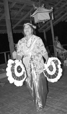 woman in elaborate outfit dancing photo