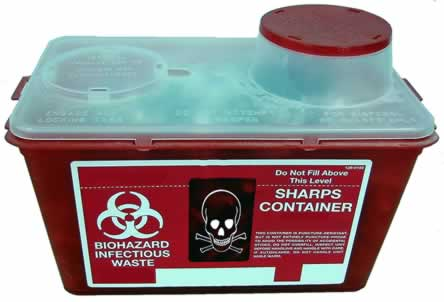 sharps container with biohazard loop symbol and skull and crossbones symbol