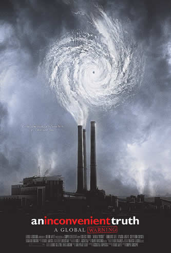 movie poster photo; smokestacks with a hurricane gyre emerging from them, words: an inconvenient truth, a global warning