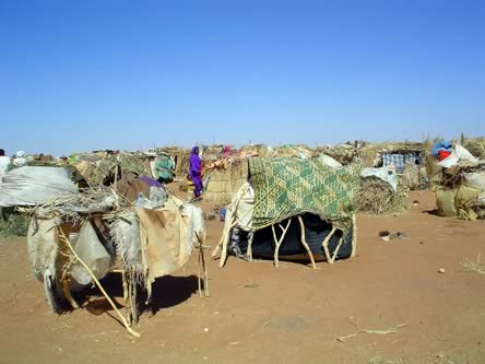 stick huts covered with colorful carpets on desert like ground under cloudless sky, person in brilliant clothing in background photo