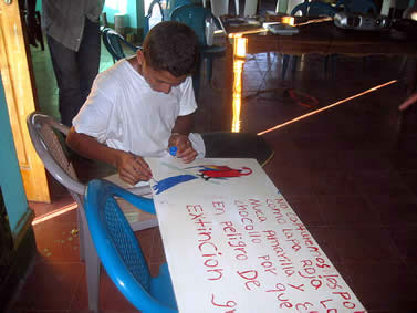 photo of a young man painting a macaw on a poster with spanish words indiacting it's danger of extinction