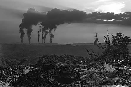 photo, smokestacks and wasteland