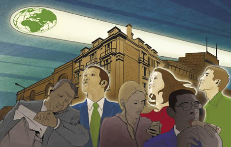 stylized drawing of people on an urban street; a spotlight on the sky has the shadow of the globe