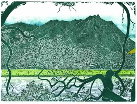 woodcut of tree-lined water backed by an imposing mountain