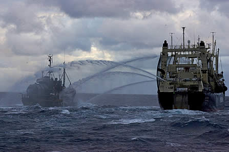 photo of two ships at sea, spraying water cannons between them