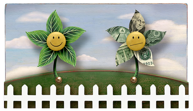 artwork showing a sad flower made of money and a happy flower made of green leaves