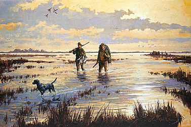 painting of hunters and a dog wading in a marsh at sunrise