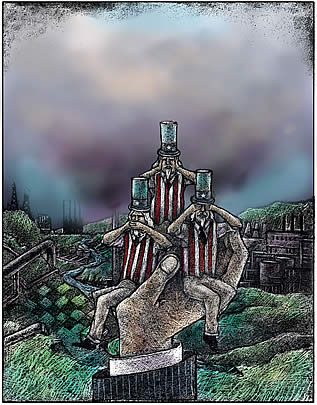 a painting depicting the character 'uncle sam' in the guises of the 'see-no-evil', etc. monkeys, borne on the palm of a giant; an industrial wasteland is behind