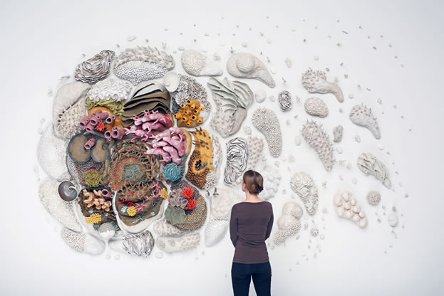 photo of a woman looking at an artwork depicting seafloor creatures