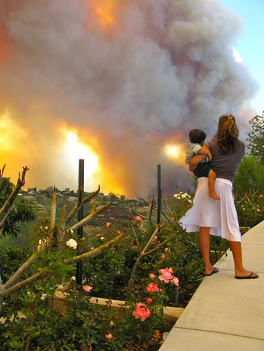 photo of a woman holding a child, standing by a garden and watching a fire nearby