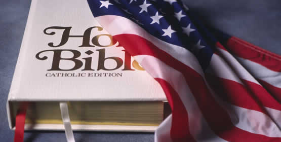 photo of a US flag draped over a bible