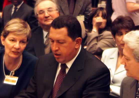 Hugo Chavez in a crowd, speaking