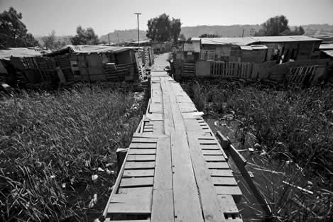 photo of a catwalk built of cast off wood over a marsh, leading to a neigborhood of handmade structures