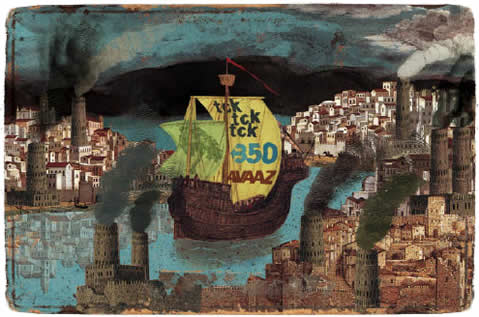 grpahic of a galleon-style ship with sails lettered 'tcktcktck' and '350' and 'avaaz' navigating a river through a medieval style european city with smokestacks darkening the sky