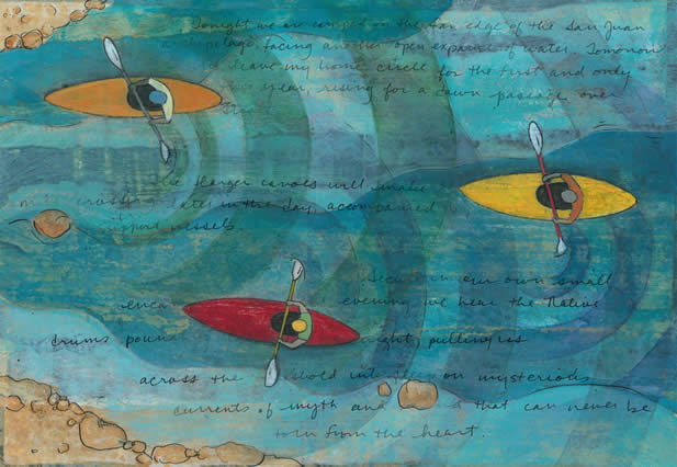 artwork of kayaks on a sea of text