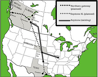 map showing pipeline routes across north america