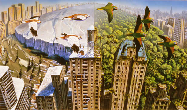 dyptich painting showing birds flying over a scene of New York, one side showing thick ice, the other showing verdant growth; in both, the buildings are falling apart