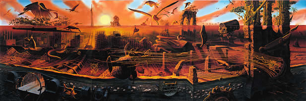 painting depicting a cross-section of an underwater scene, ruins and life together, sun rising or setting behind