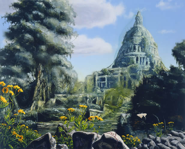 painting depicting the US capitol in ruins but made beautiful by a covering of lively plants