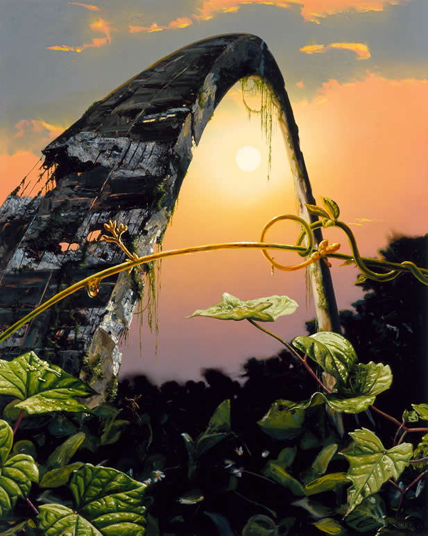 painting depicting a ruinous arch climbed by tropic vines