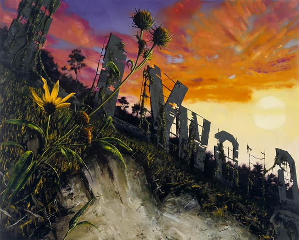 painting of a hillside showing plants encroaching on a ruinous Hollywood sign