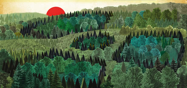 artwork depicting a sunrise over a forest