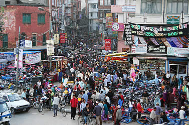 photo of a crowded market street in Kathmandu