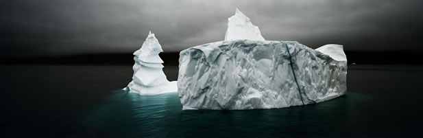 photo of an iceberg shaped like pinnacles