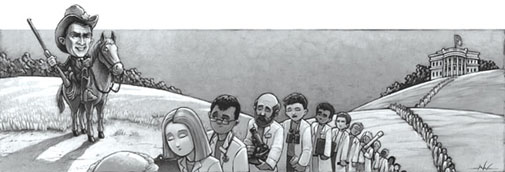 comic drawing of a cowboy standing guard over a line of white-coated scientists leaving the White House