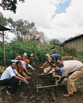 SOS program fellows and their in-country counterparts work together-preparing the soil at a community garden plot. -Sistie Moffitt photo