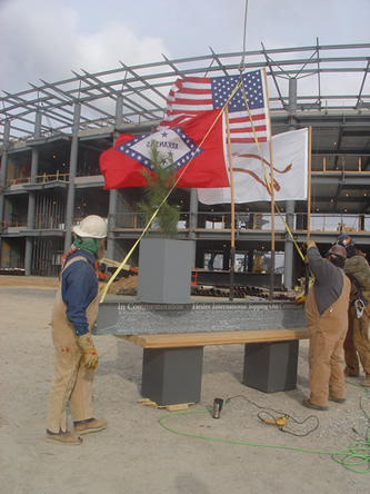 Topping off the new Heifer headquarters in Little Rock. Heifer International photo