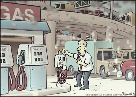 cartoon rendering of a man at a gas station sucking on a hose from the pump labelled AIR; traffic and smog in the background