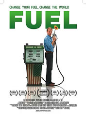 poster for the film, man standing near a gas-station pump, holding the nozzle; a sunflower blooming from the nozzle. The pump is painted like the US flag