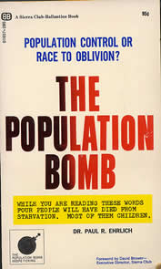 book cover thumbnail, words: the Population Bomb - while you are reading these words, four people will have starved to death. Most of them children