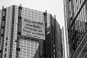photo of a building with a banner in German
