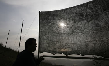photo of a person in silhouette, fabric net stretched across a frame nearby