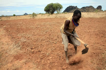 photo of a man hand-tilling dry red earth