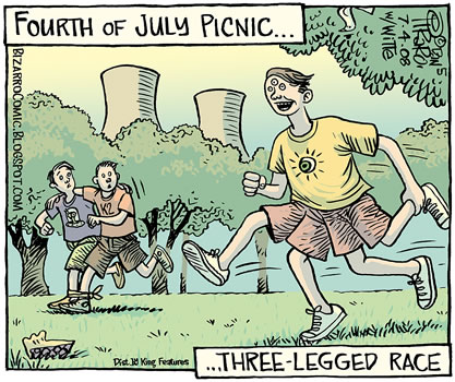 cartoon panel, atomic power cooling towers in the background of a scene showing a three-eyed, four-legged person running gleefully at a 4th-of-july picnic, caption 'three legged race'