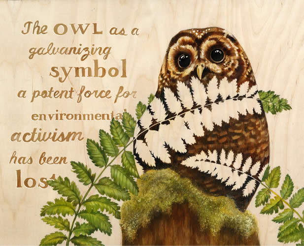 drawing of an owl, words, the owl as a galvanizing symbol a potent force for environmental activism has been lost