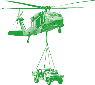 photo of a helicopter carrying a payload on a sling, tinted green