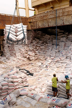 photo of a huge number of giant sacks of rice in the hold of a bulk ship, cranes and people unloading