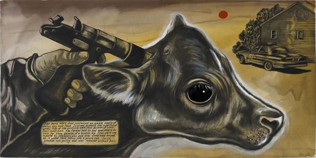 artwork depicting a calf with a pistol pointed at its head