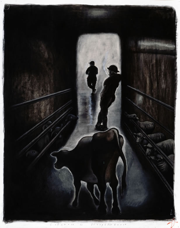 artwork depiting a calf outlined in the doorway of a dimly lit building, men smoking and other animals in the shadows