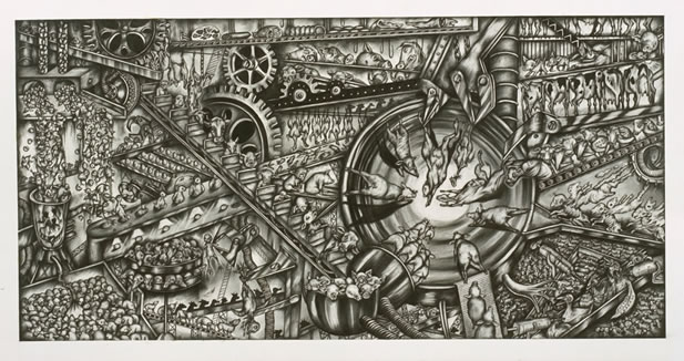 artwork depicting a fantastic factory into which countless animals are conveyed to their doom
