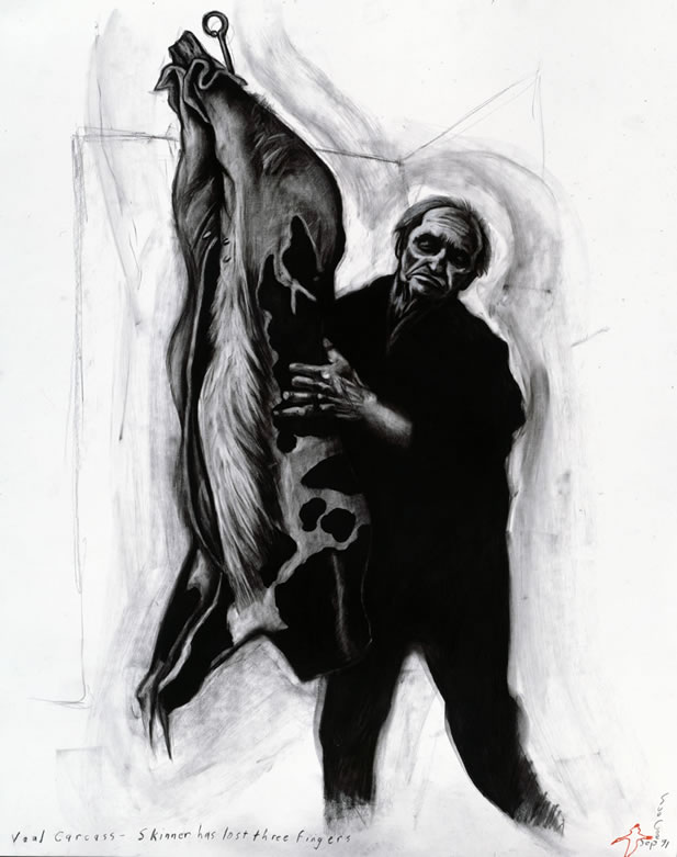 artwork depicting a man skinning a veal carcasse