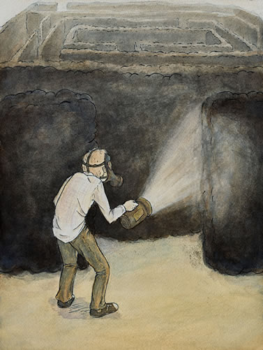 illustration depicting a figure wearing a respirator and carrying a flashlight about to enter a maze that appears to be made of smoke
