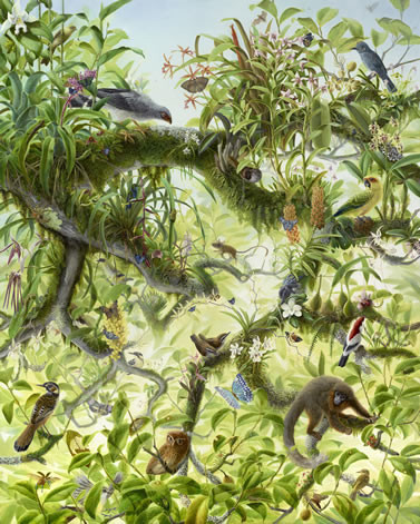 artwork depicting a group of animals in a tree canopy