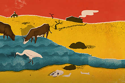 slice of an artwork depicting a desert scene, wildlife and livestock drinking from a small pond