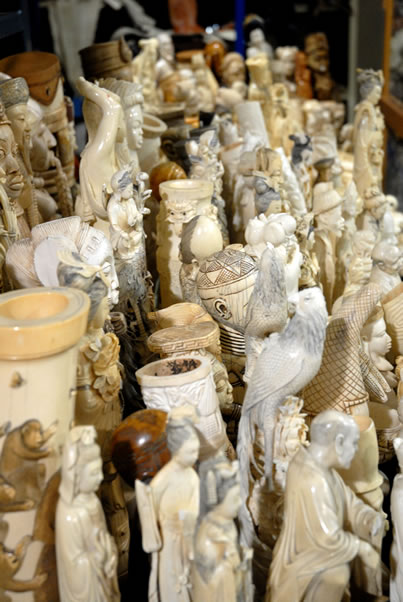 photo of many carved ivory figurines