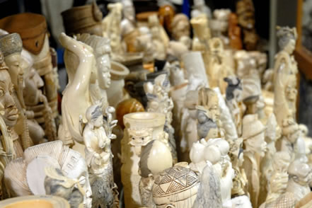 photo of many ivory figurines
